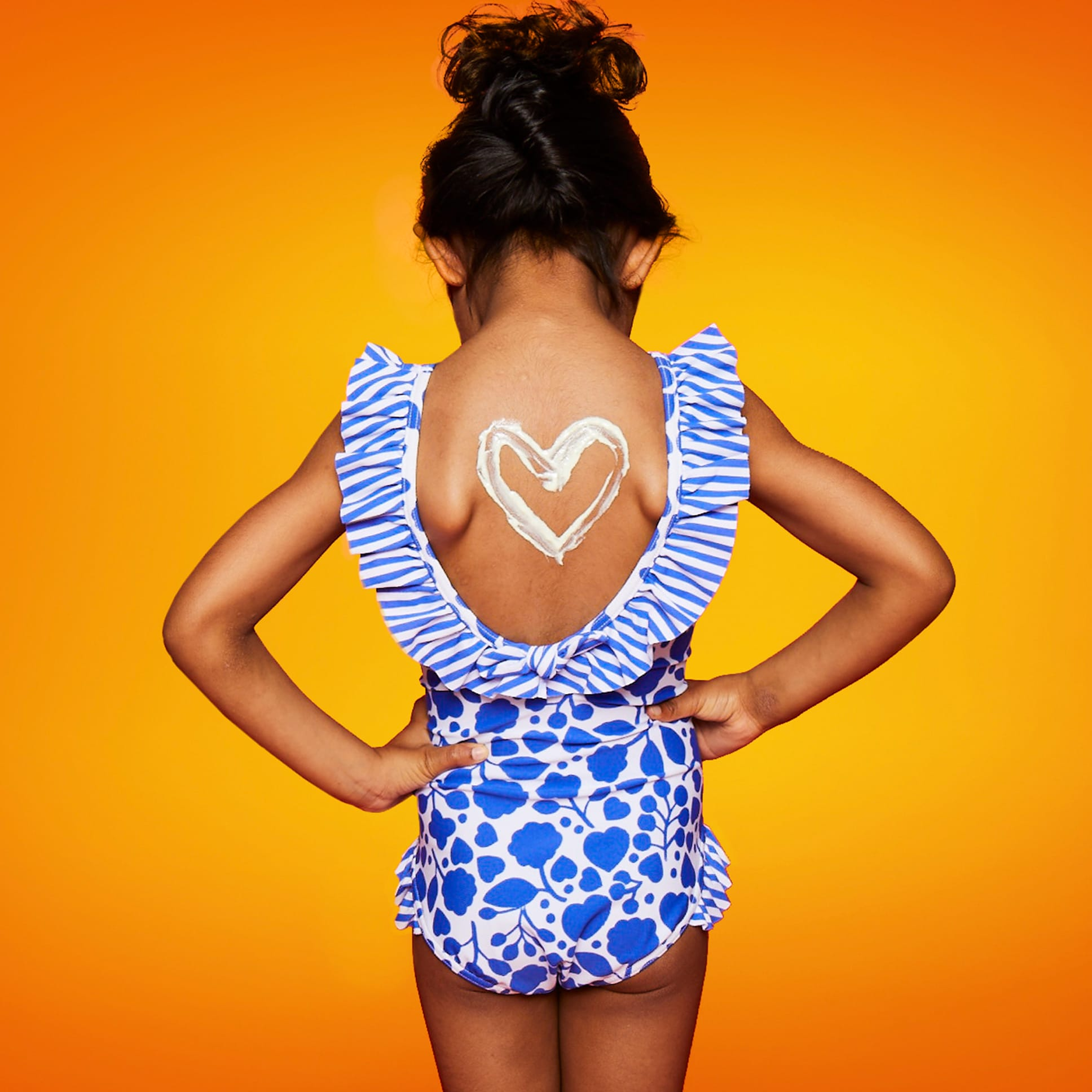 Black Girl, Sun Cream, Heart On Back Yellow background_Square