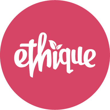 Ethique logo white on pink